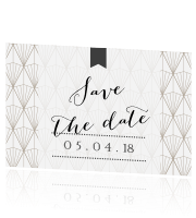 Hippe save the date met art deco patroon