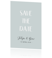 Grijsblauwe Save the Date kaart