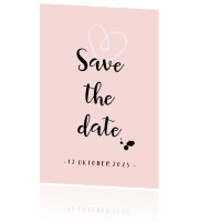 Bleekroze Save the Date kaart met hartje