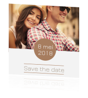 Hippe fotokaart save the date kaart in brons