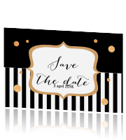 Chique save the date uitnodiging met zwart en goud