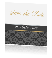 Een chique save the date met goud en kant