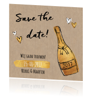 Save the date op kraft met goud en champagne