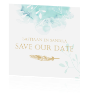 Romantische kaart save our date met veer in goud