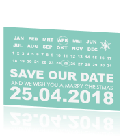 Save our date kaart stoer met mintgroen