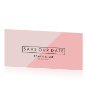 Save the Date kaart roze minimalistisch