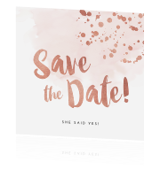 Watercolour save-the-date met in koper-kleur