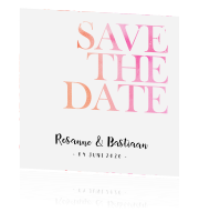 Stijlvolle save the date met namen in handlettering