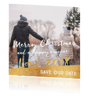 Hippe kerstkaart save the date met foto