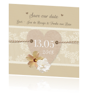 Kaart save our date romantisch met hart
