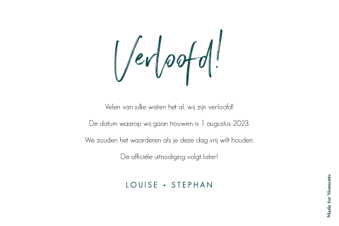 Hippe save the date kaart op donkergroene achtergrond
