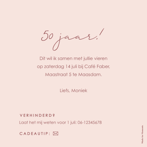 Tekst Uitnodiging 50 Jaar Sarah