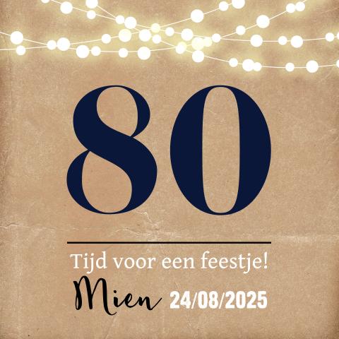 Bedwelming Uitnodiging 80 jaar verjaardag - MadeforMoments [hipDesign] #OB34