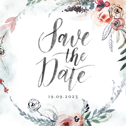 Save the Date kaart met bloemenkrans