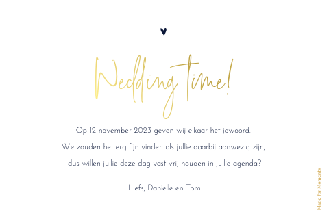 Hippe save the date kaart met goudfolie