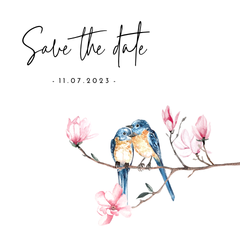 Romantische save the date met love birds