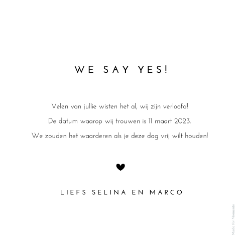 Save the date kaart met gehandletterde tekst.