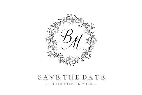 Vintage Save the Date kaart met bloemenkrans