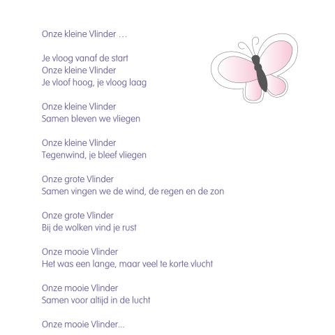 Ingetogen Kaartje Overlijden Baby Met Vlinder Gedicht
