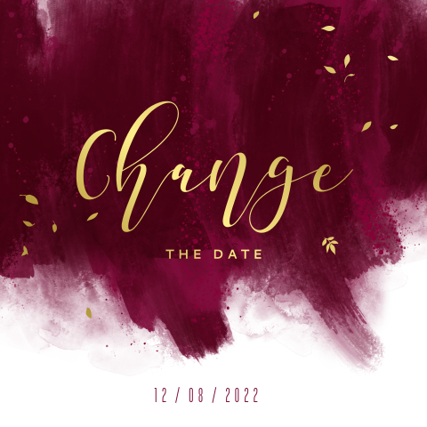 Change the date burgundy verfstrepen met goudfolie