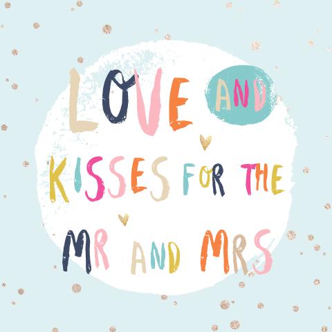 Vrolijke Felicitatie Kaart Bruiloft Met Kleurrijke Letters