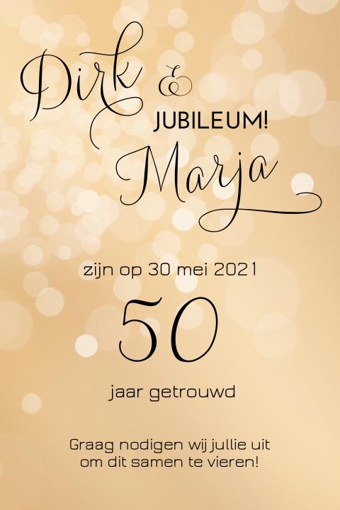 Uitzonderlijk Uitnodiging 50 jarig huwelijksfeest goud &BG52