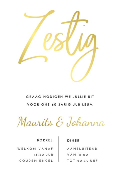 Verbazingwekkend Goudfolie uitnodiging 60 jaar getrouwd typografie UQ-04