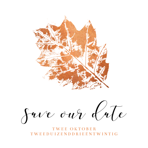 Save the Date kaart herfst met bronzen blad