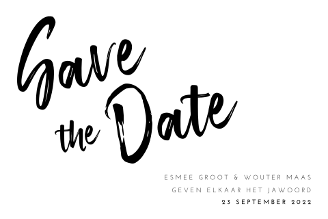 Hippe save the date kaart zwart-wit