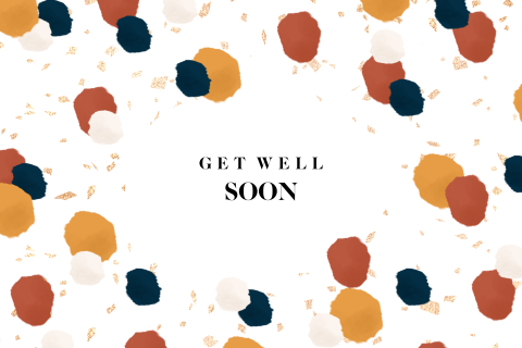 Hutten kaart get well soon met confetti patroon