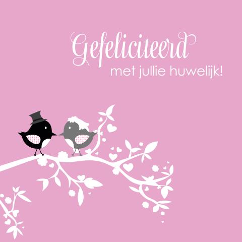 Populair Lieve kaart met vogeltjes bruidspaar op tak @NB16