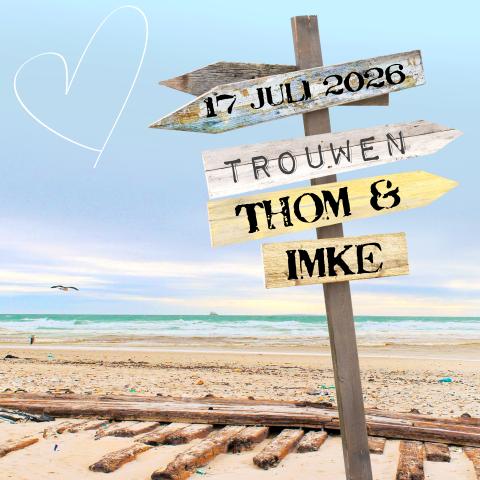 Kaart Huwelijk Uitnodiging Thema Strand Zee