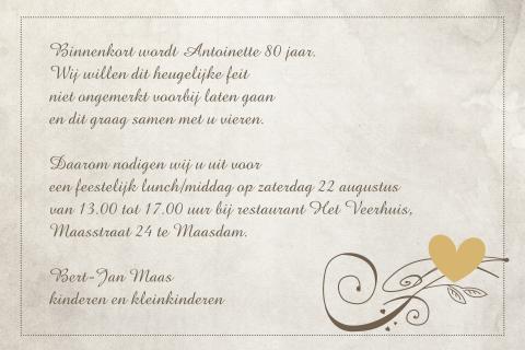 Wonderbaarlijk Uitnodiging 80 jaar verjaardag - MadeforMoments SK-67