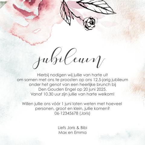 Uitnodiging 125 Jarig Jubileum Met Bloemen