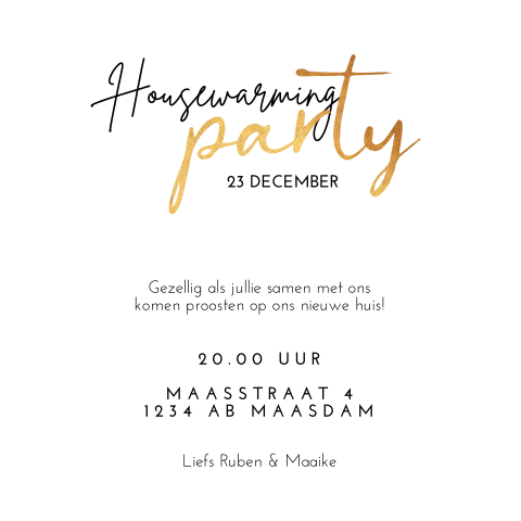 Housewarming uitnodiging clean zwart wit