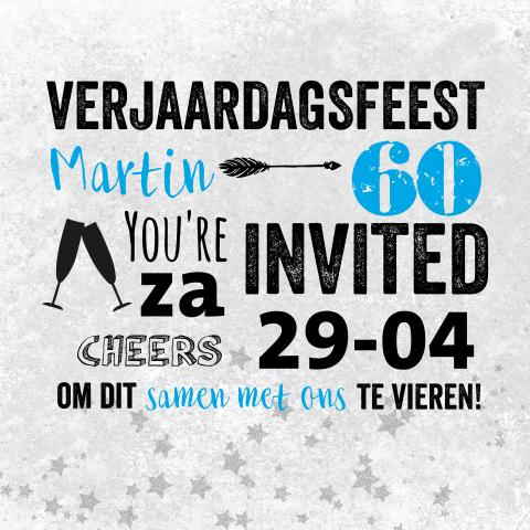 Super Een stoere uitnodiging verjaardag 60 jaar &VB53