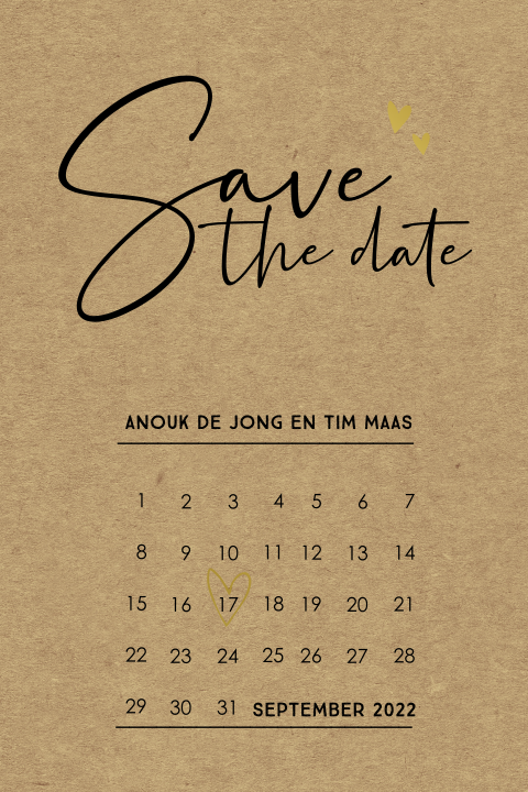 Kraft save the date met goudfolie
