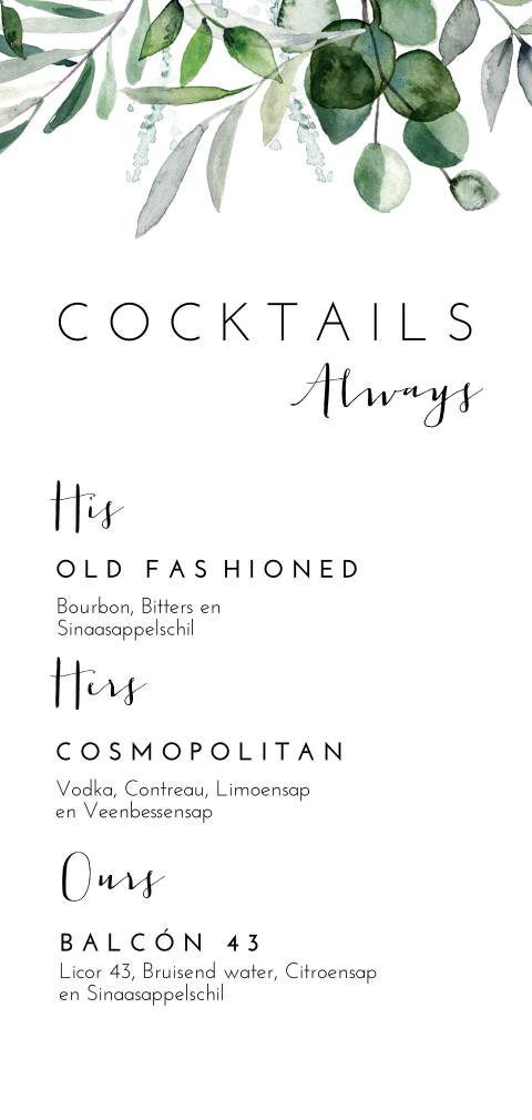 Stijlvolle signature drinks menu