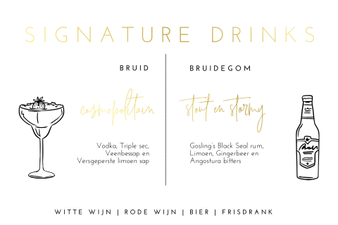 Kaart met signature drinks in goudfolie