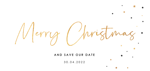 Merry christmas save the date sterren goudlook