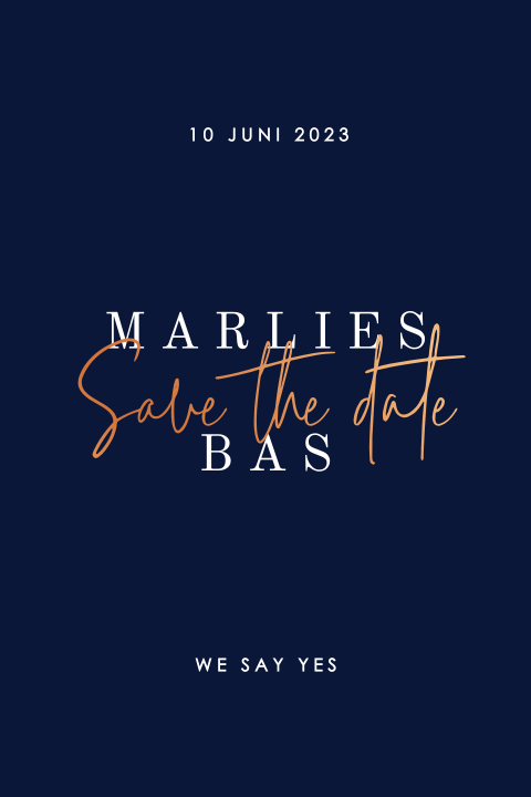 Minimalistische save the date met koperfolie