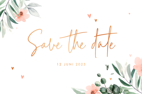 Save the date met watercolor bloemen