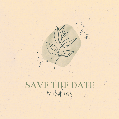 Save the date bruiloft botanisch watercolor duurzaam