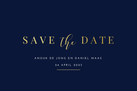 Minimalistische save the date met goudfolie