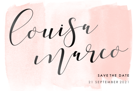 Save the date calligraphy namen groot watercolor zwartfolie