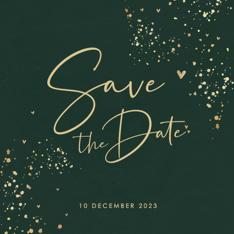 Donkergroene save the date met spetters
