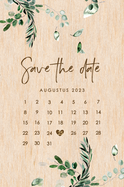 Botanische save the date met kalender
