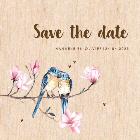 Save the date met love birds