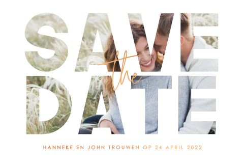 Save the date met fotomasker en koperfolie