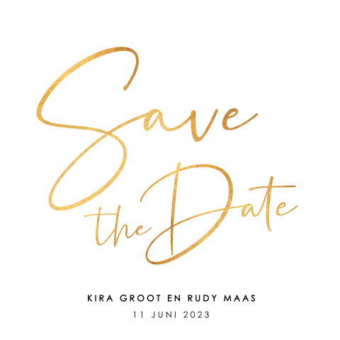 Save the date met goudlook calligraphy
